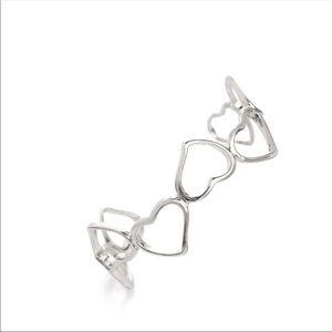 Beautiful sterling silver open heart cuff bracelet